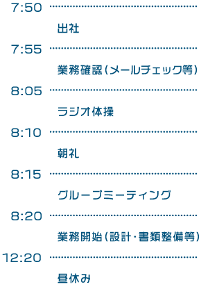 7:50出社/7:55業務確認(メールチェック等)/8:05ラジオ体操/8:10朝礼/8:15グループミーティング/8:20業務開始(設計・書類整備等)/12:20昼休み